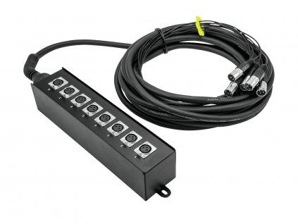 Omnitronic MUS-810, multicore kabel se stageboxem, 8IN XLR, 10 m