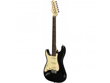 Stagg SES-30 BK LH, elektrická kytara levoruká, černá