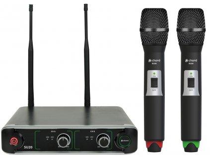 Chord NU2-H duální UHF ruční bezdrátový mikrofonní systém, 863.42+864.3