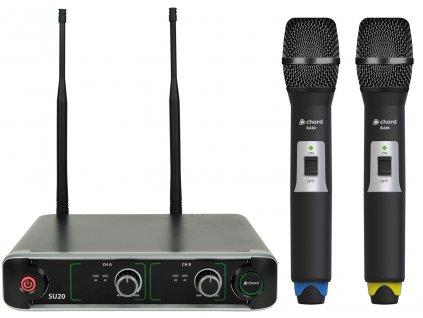 Chord NU2-H duální UHF ruční bezdrátový mikrofonní systém, 864.8+863.1