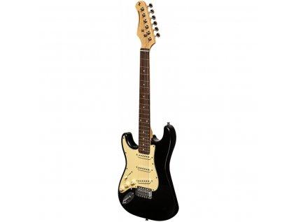 Stagg SES-30 BK 3/4 LH, elektrická kytara 3/4 levoruká, černá