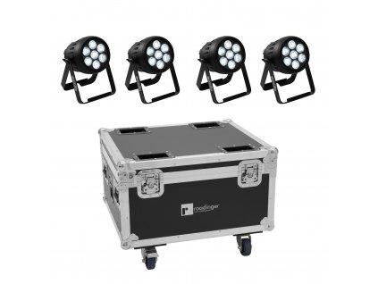 Eurolite set 4x AKKU IP PAR 7 QCL WDMX + přepravní skříň s nabíjením