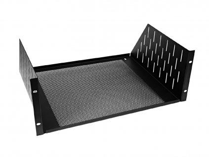 Racková polička 4U s ventilačními otvory, černá
