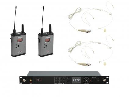 PSSO Set WISE TWO, 2-kanálový přijímač + 2x vysílač + 2x náhlavní mikrofon 823 - 832 / 863 - 865 MHz