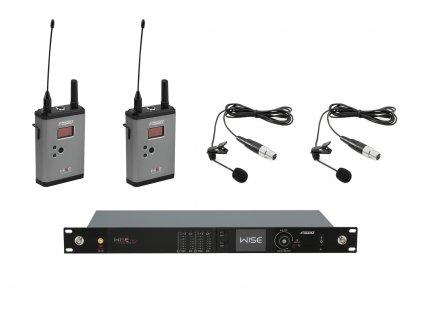 PSSO Set WISE TWO, 2-kanálový přijímač + 2x vysílač + 2x klopový mikrofon 518 - 548 MHz
