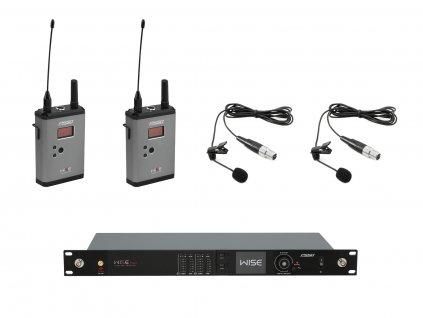 PSSO Set WISE TWO, 2-kanálový přijímač + 2x vysílač + 2x klopový mikrofon 823 - 832 / 863 - 865 MHz