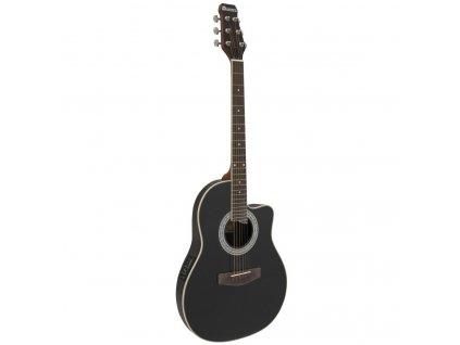 Dimavery RB-300, elektroakustická kytara typu Ovation, černá