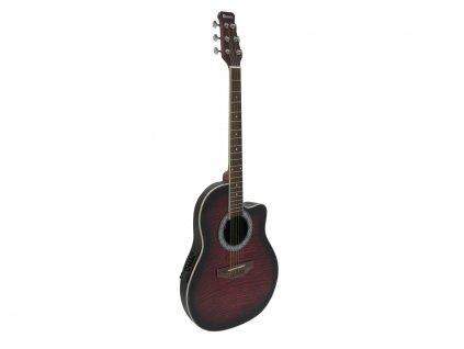 Dimavery RB-300, elektroakustická kytara typu Ovation, redburst žíhaná