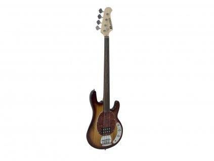 Dimavery MM-501, elektrická baskytara bezpražcová, tobaccoburst