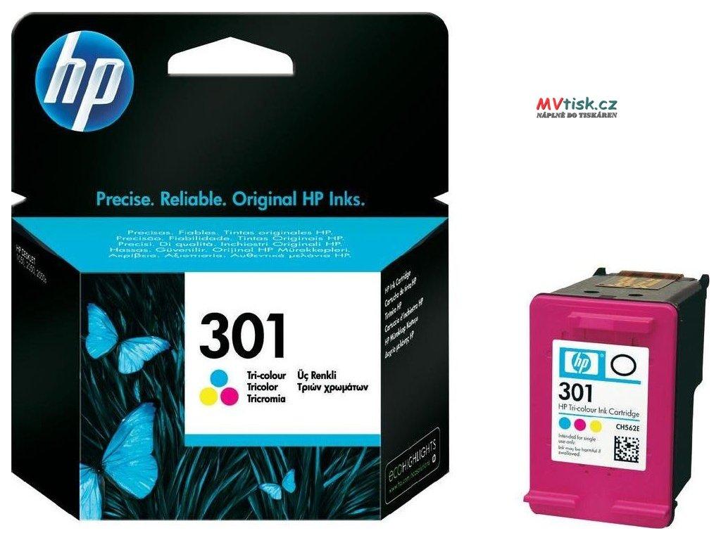 Originální inkoustová kazeta HP č. 301 barevná (HP CH562EE) 165 stran  Originální inkoustová kazeta HP č. 301 barevná (HP CH562EE) do tiskáren HP Deskjet 1050, 1510, ENVY 4500