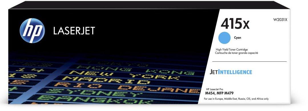 HP W2031X - originální tonerová kazeta č. 415X azurová 6000 stran HP W2031X - originální tonerová kazeta č. 415X azurová 6000 stran, do tiskáren HP LaserJet Pro M454, MFP M479