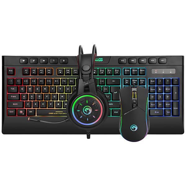 Marvo CM305, RGB sada klávesnice s herní myší a sluchátky, CZ/SK, herní, membránová typ drátová (USB), černá, RGB podsvícená