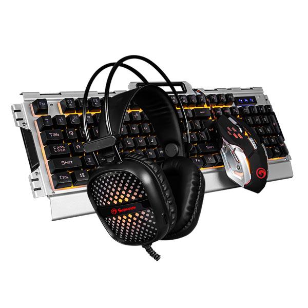 Marvo CM303, Sada klávesnice s herní myší a sluchátky, CZ/SK, herní, membránová typ drátová (USB), stříbrná, podsvícená