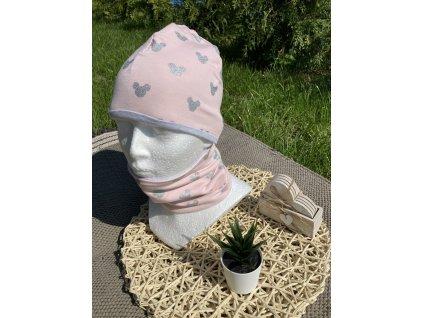 Čepice a nákrčník stříbrný myšák na světle růžové 48-50