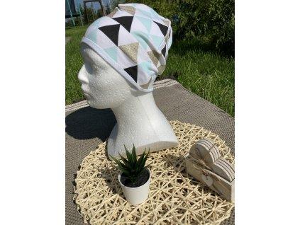 Čepice trojúhelník mint se zlatým 50-52