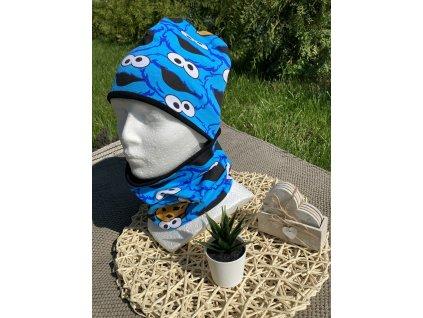 Čepice a nákrčník příšerky na modré 50-52