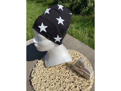 Čepice bílé hvězdičky na černé 52-54