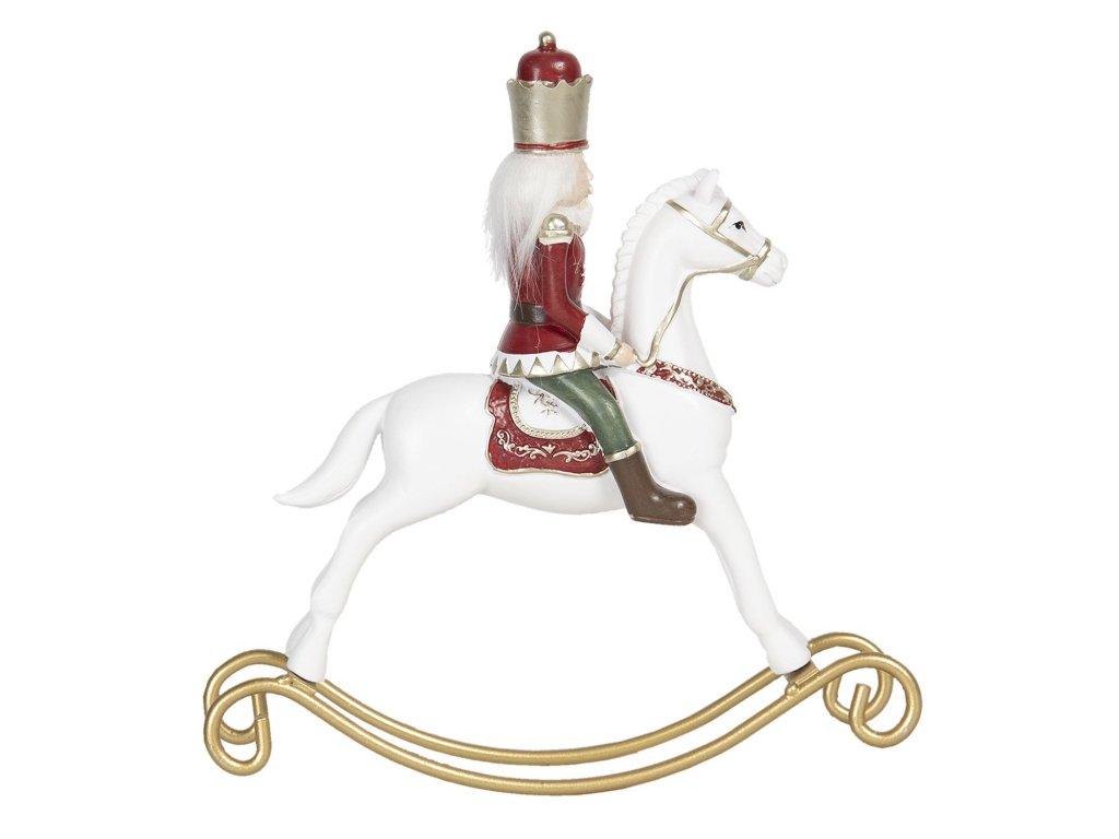 vanocni dekorace louskacek na houpacim koni 22423 cm
