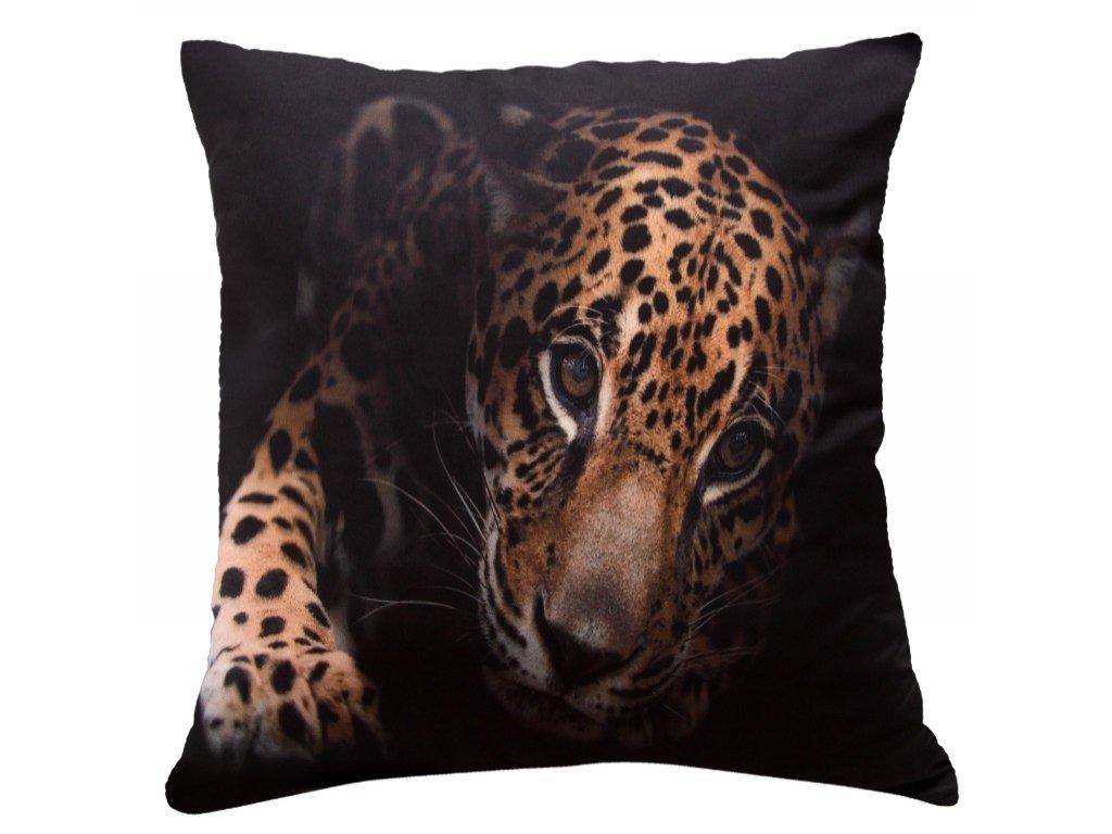 Polštář JAGUÁR MyBestHome 40x40cm fototisk 3D motiv jaguár