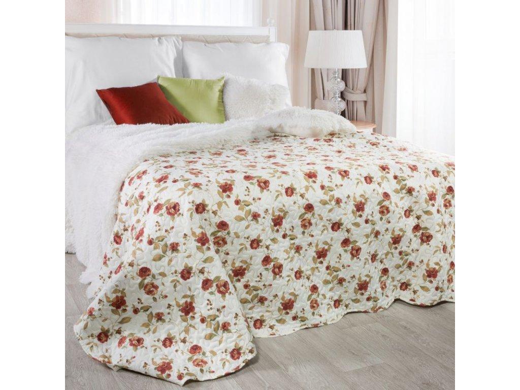 Přehoz na postel VEERA 220x240 cm krémová/vínová Mybesthome