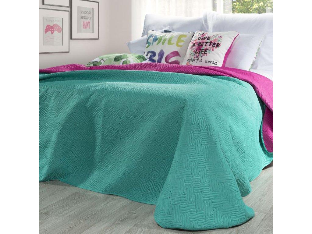 Přehoz na postel MANU 220x240 cm tmavě růžová/zelená Mybesthome