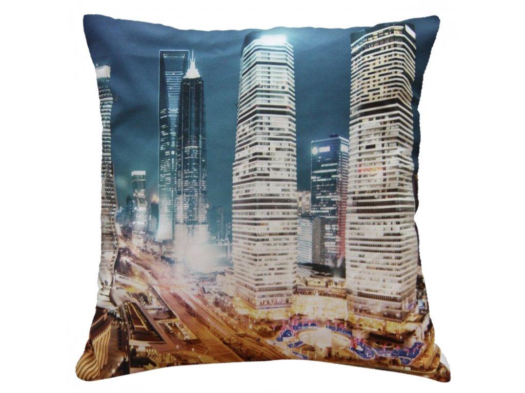 Polštář LIGHT CITY MyBestHome 40x40cm fototisk 3D motiv velkoměsta