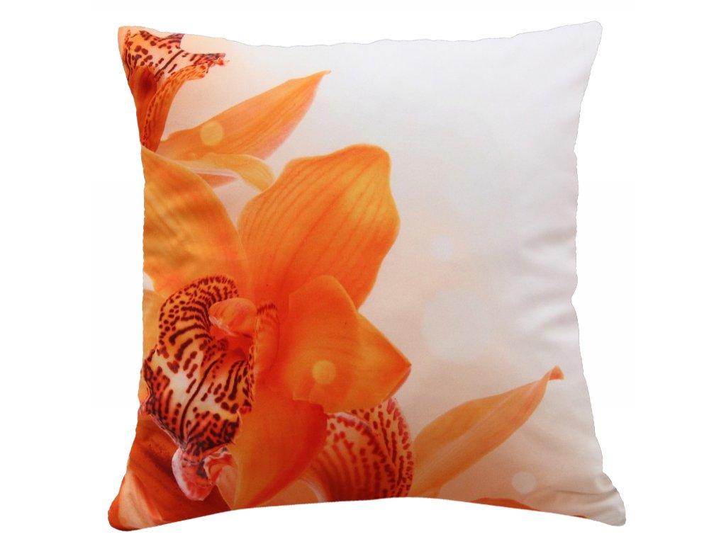 Polštář KVĚT ORCHIDEJE 40x40cm fototisk 3D motiv s květem orchideje MyBestHome