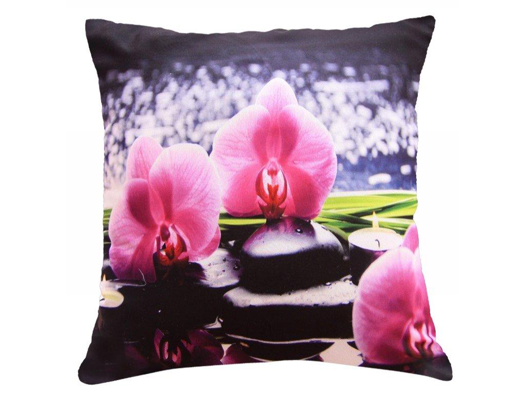 Polštář ORCHIDEJE S KAMENY 40x40cm fototisk 3D motiv s květem orchideje MyBestHome