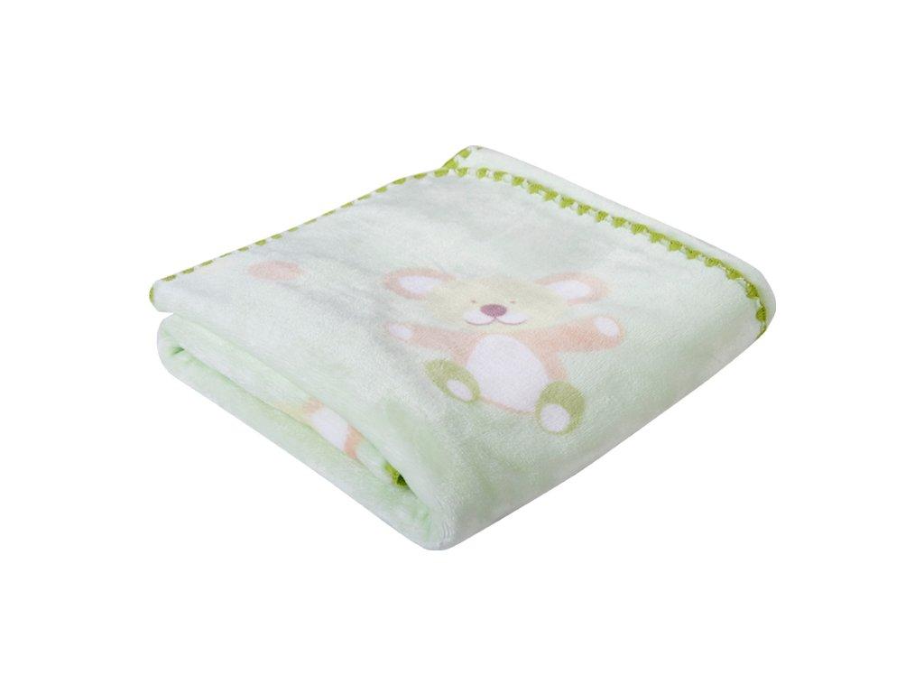 Dětská deka s medvídky BEAR zelená 80x90 cm Mybesthome