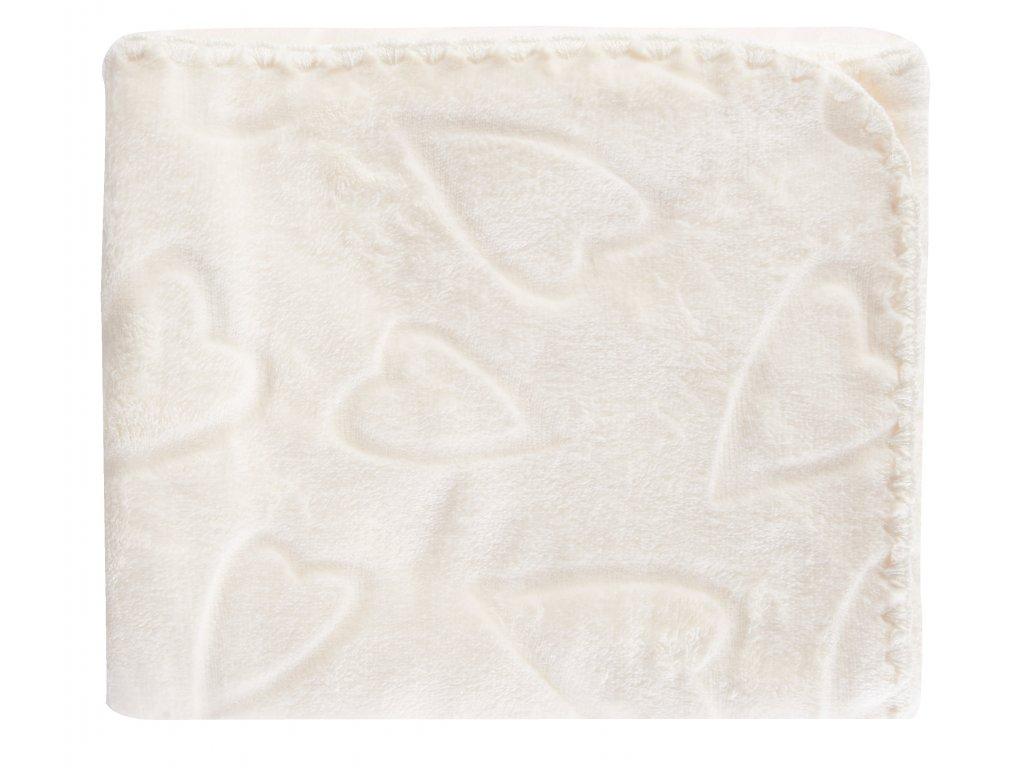 Dětská deka se srdíčky SURI smetanová 80x90 cm Mybesthome