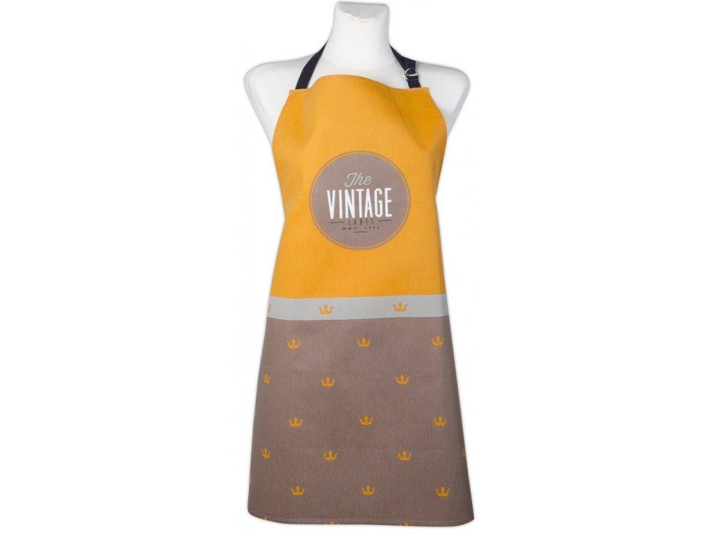 Kuchyňská bavlněná zástěra VINTAGE, hnědá, Essex, 100% bavlna