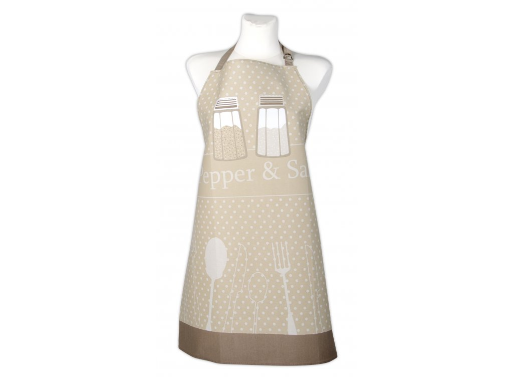 Kuchyňská bavlněná zástěra PEPŘ a SŮL, béžová, Essex, 100% bavlna