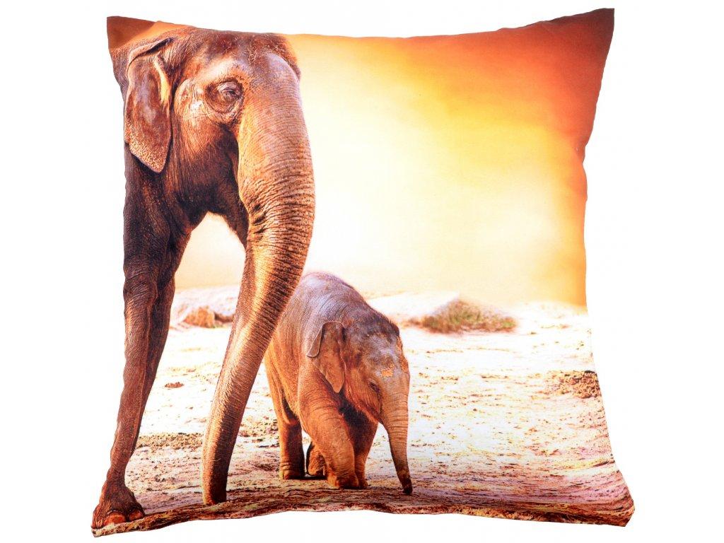 Polštář ELEPHANT MyBestHome 40x40cm  fototisk 3D motiv sloni