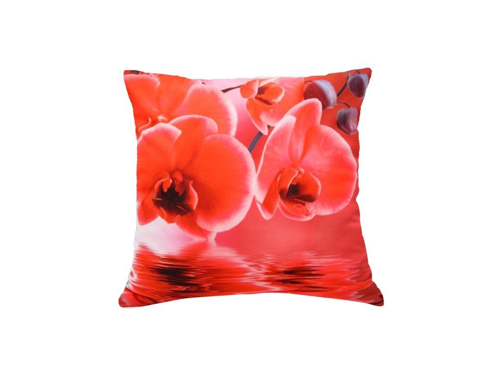 Polštář ČERVENÉ KVĚTY MyBestHome 40x40cm fototisk 3D motiv červené květy