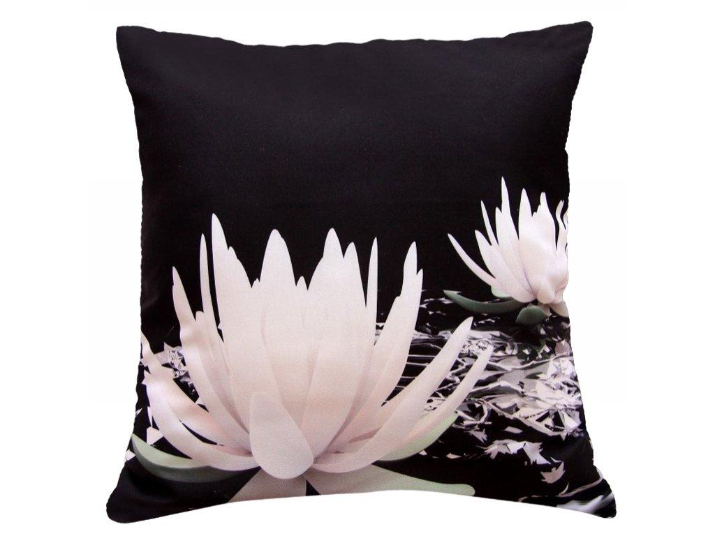 Polštář KVĚT LEKNÍNU BW MyBestHome 40x40cm fototisk 3D motiv KVĚTU LEKNÍNU v černobílé barvě