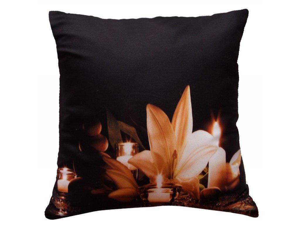 Polštář LILIE MyBestHome 40x40cm fototisk 3D motiv lilie se svíčkami