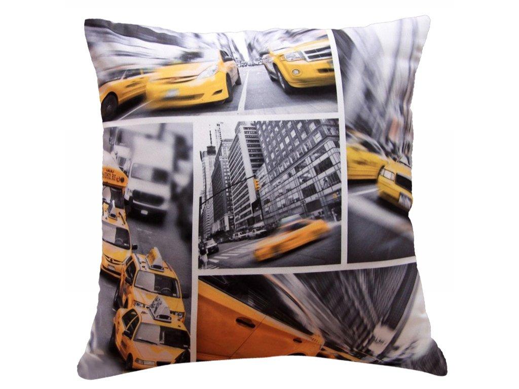 Polštář NEW YORK TAXI MyBestHome 40x40cm fototisk 3D motiv newyorskkých taxíků