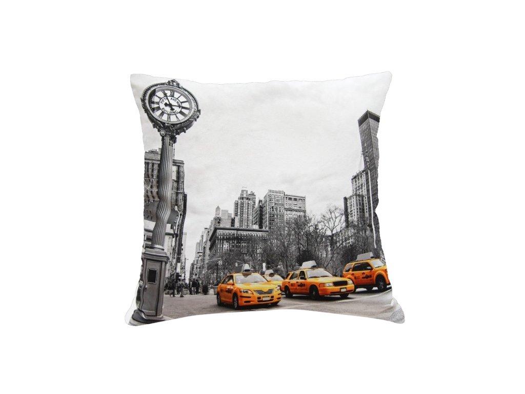 Polštář FIFTH AVENUE MyBestHome 40x40cm fototisk 3D motiv hlavní ulice na Manhatanu