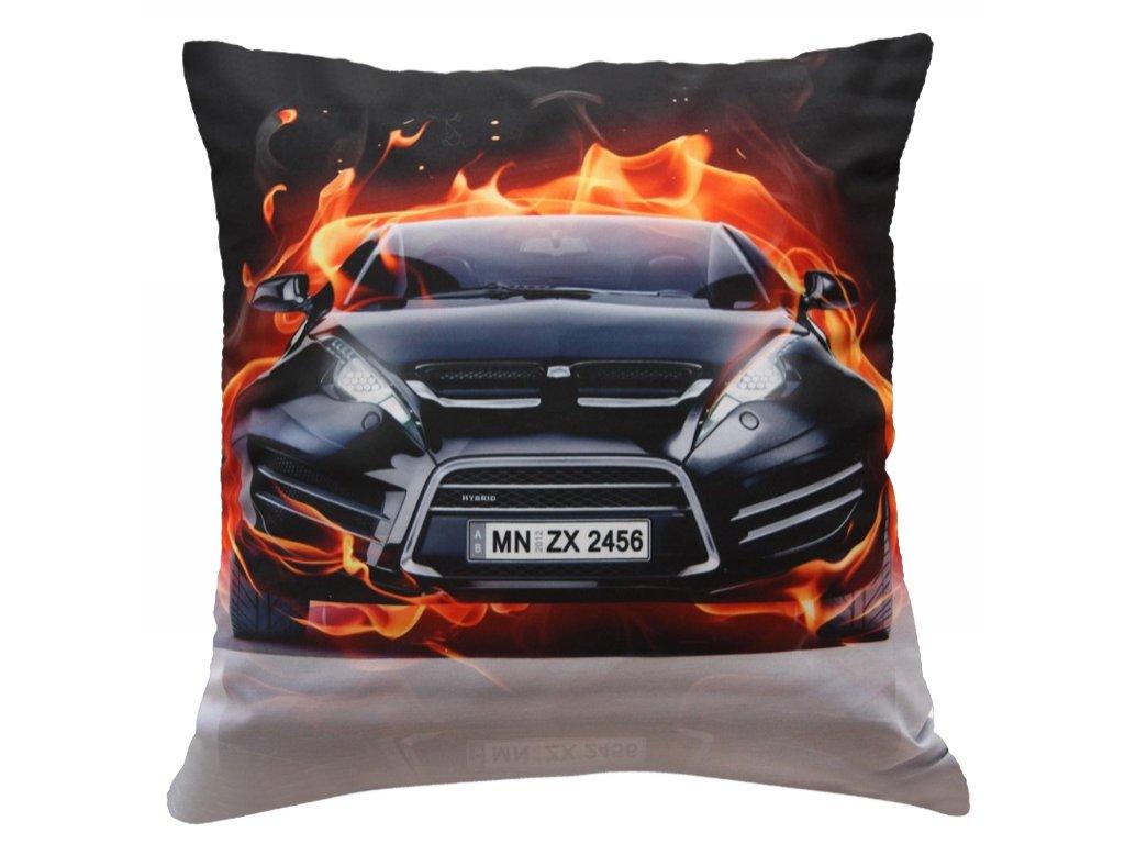 Polštář HOŘÍCÍ AUTO MyBestHome 40x40cm fototisk 3D motiv hořícího auta