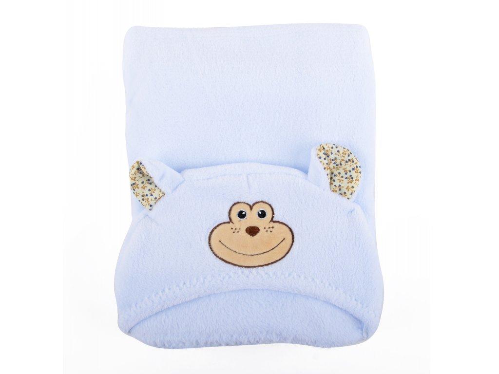 Dětská deka TOUDI s kapucí modrá, opička, 75x100 cm + 25x25 cm Essex