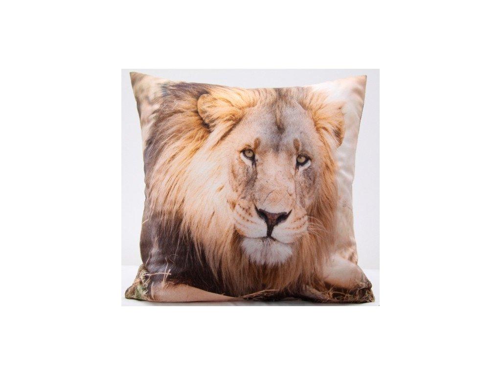 Polštář LEV 02 MyBestHome 40x40cm fototisk 3D motiv lva