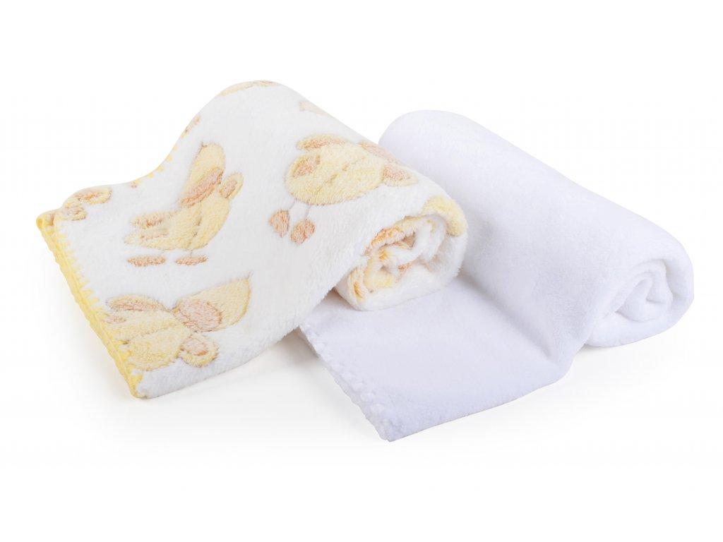 Dětská deka set 2 kusy DIEGO bílá kachničky 80x90 cm mikrovlákno Mybesthome