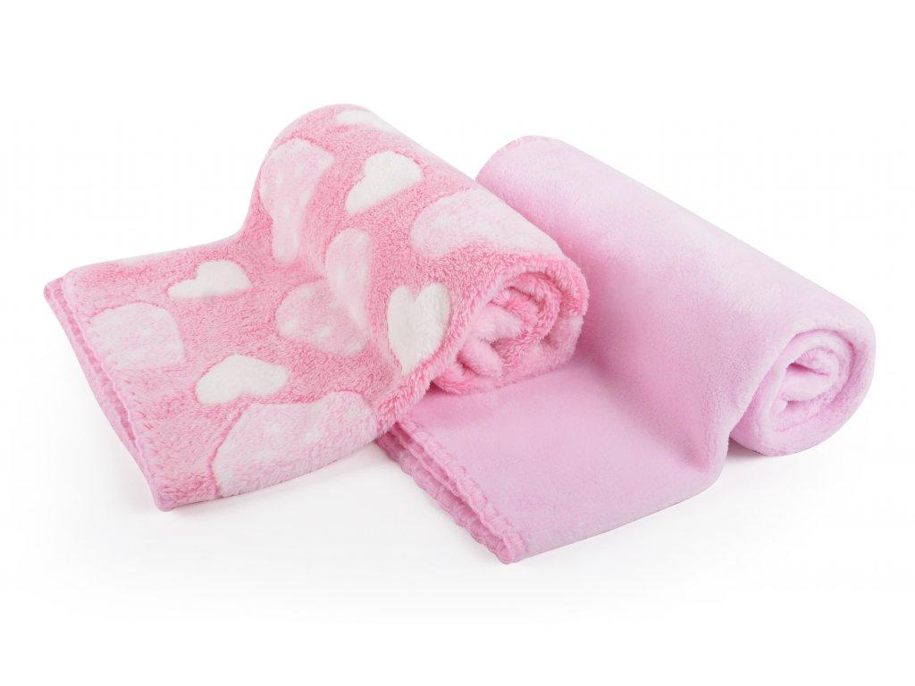 Dětská deka set 2 kusy DIEGO růžová srdíčka 80x90 cm mikrovlákno Mybesthome