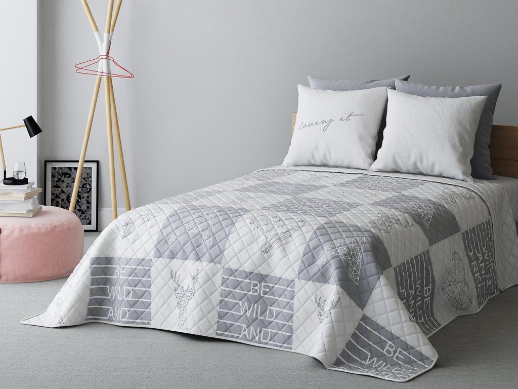 Přehoz na postel BE WILD 220x240 cm bílá/světle šedá MyBestHome
