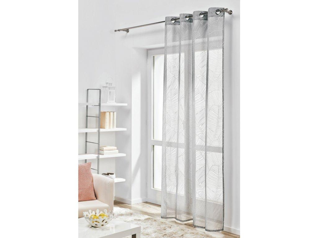 Dekorační vzorovaná záclona BANAN tmavě šedá 140x245 cm MyBestHome