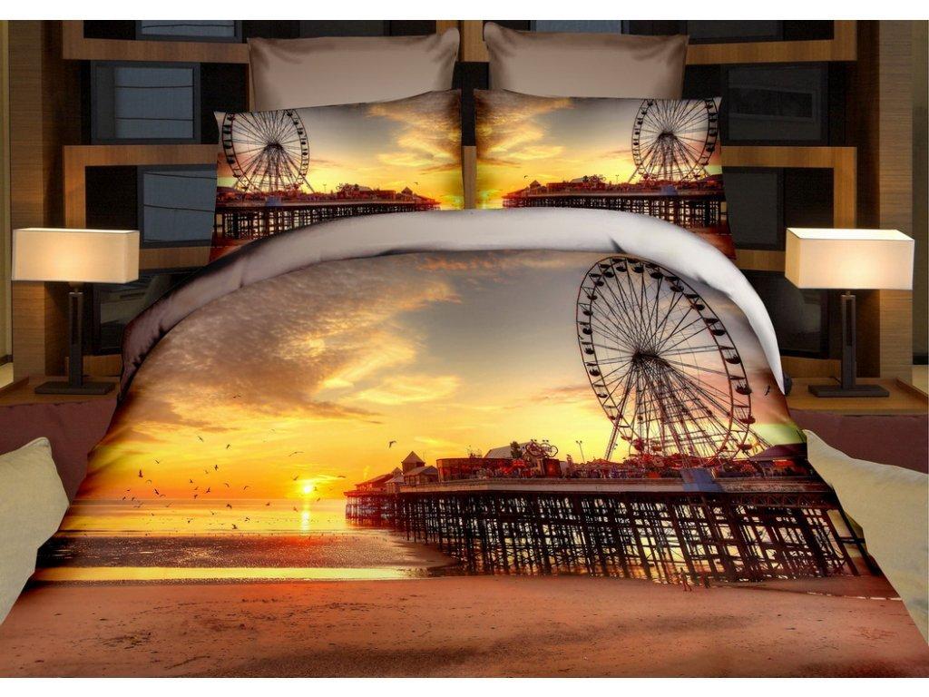 Povlečení LONDÝNSKÉ OKO 3D francouzské povlečení, 1x 200x220 cm, 2x povlak 70x80 cm, MyBestHome