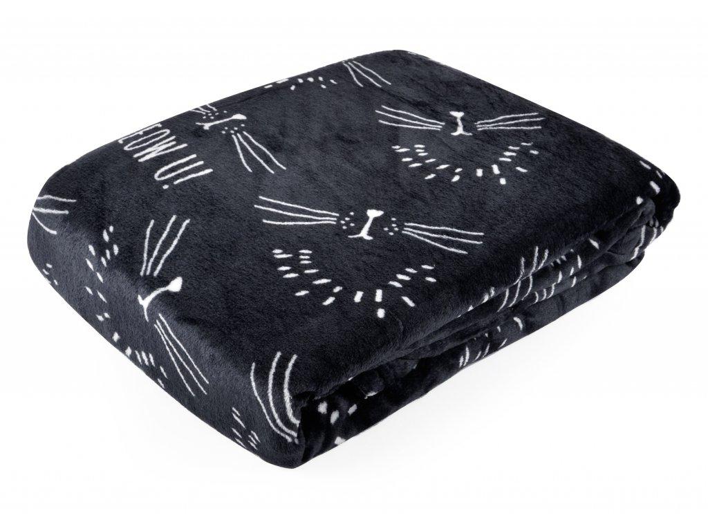 Deka z mikrovlákna FURRY černá 150x200 cm Essex