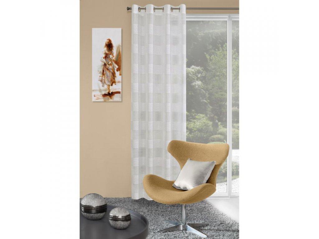 Dekorační vzorovaná záclona MABEL krémová, 140x250 cm MyBestHome