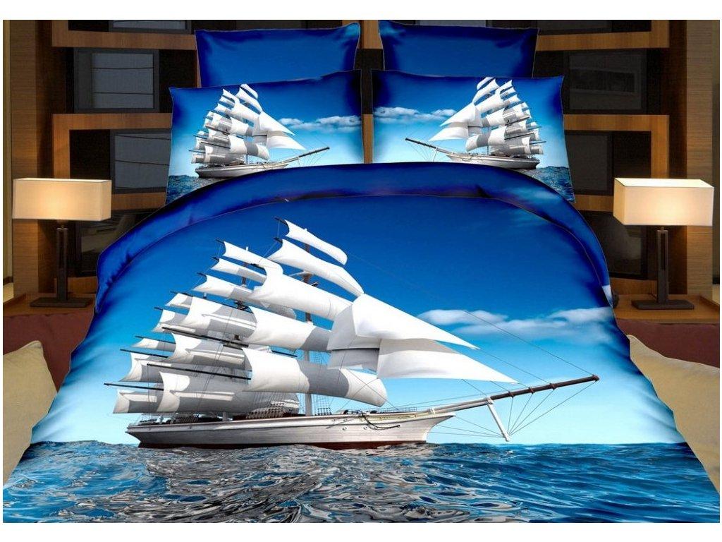 Povlečení PLACHETNICE 3D francouzské povlečení, 1x 200x220 cm, 2x povlak 70x80 cm, MyBestHome