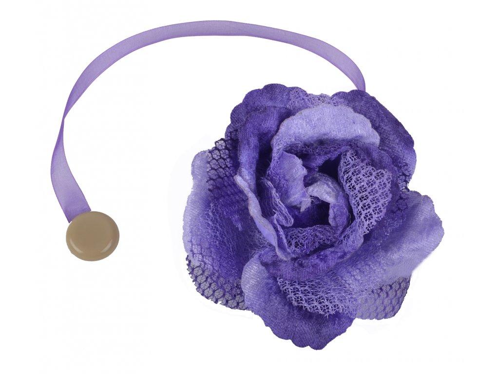 Dekorační ozdobná spona na závěsy s magnetem VIOLETTA, fialová, Ø 14,5 cm 2 kusy v balení Mybesthome